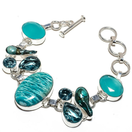 Amazonite, Multi Gemstone Jewelry Bracelet 7-8 Inches RB1228