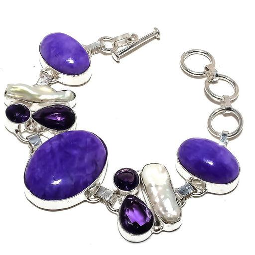 Charoite, Amethyst Gemstone Jewelry Bracelet 7-8 Inches RB1229