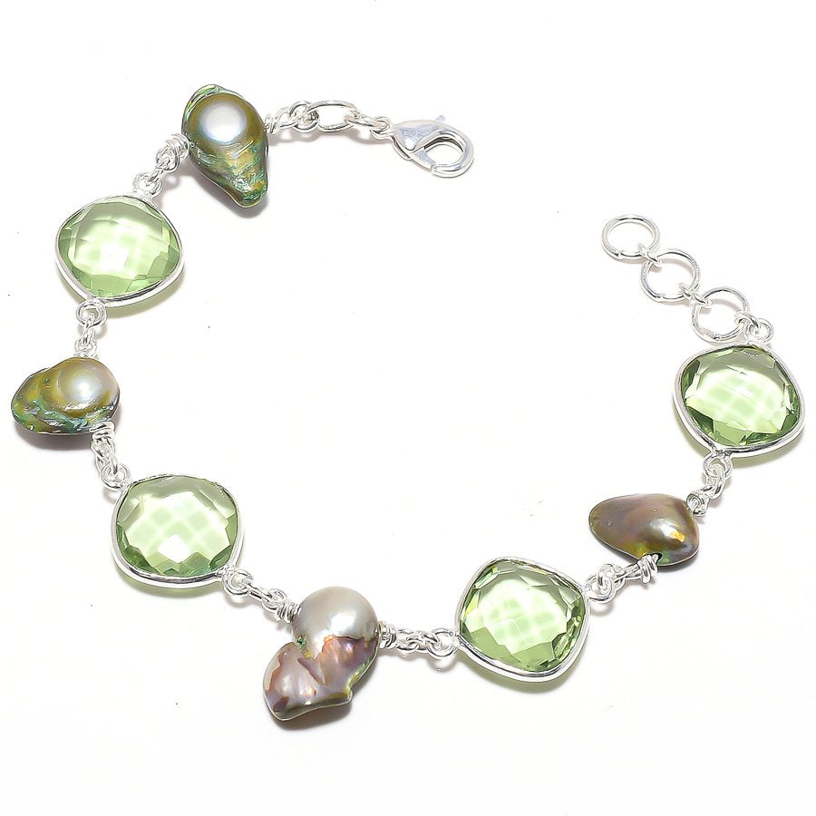 Green Amethyst, Biwa Pearl Jewelry Bracelet 7-8 Inches RB122