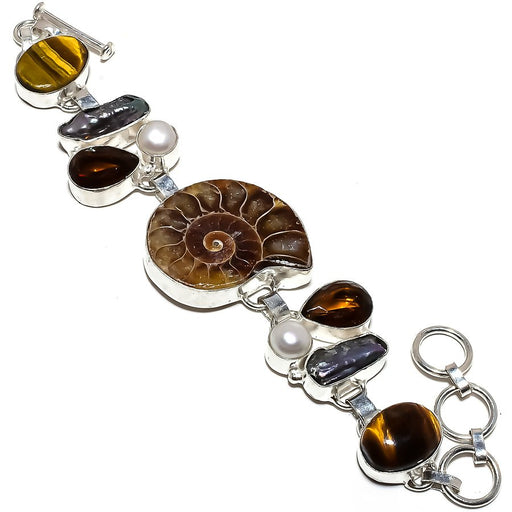 Ammonite Fossil, Multi Gemstone Jewelry Bracelet 7-8 Inches RB1230