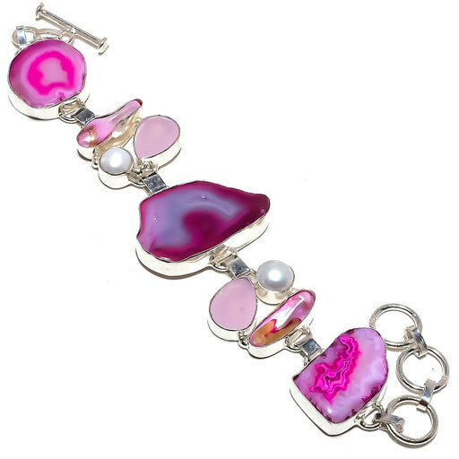 Pink Slice Agate Druzy Jewelry Bracelet 7-8 Inches RB1231