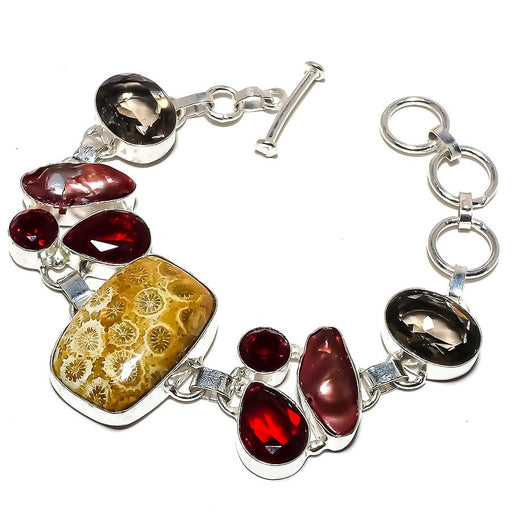 Fossil Coral, Multi Gemstone Jewelry Bracelet 7-8 Inches RB1232