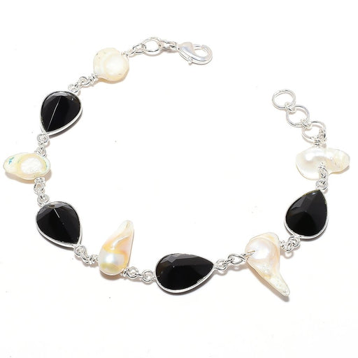 Black Onyx , Biwa Pearl Gemstone Jewelry Bracelet 7-8 Inches RB124