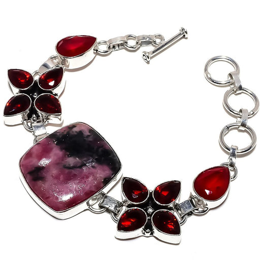 Magnetite Rhodonite, Garnet Jewelry Bracelet 7-8 Inches RB1267