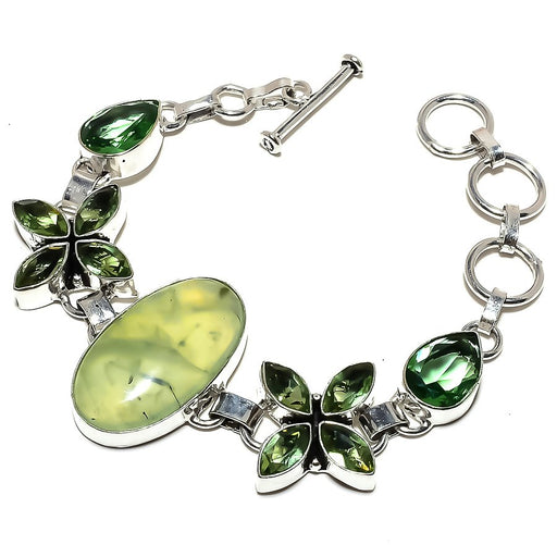 Prehnite, Peridot Gemstone Jewelry Bracelet 7-8 Inches RB1270