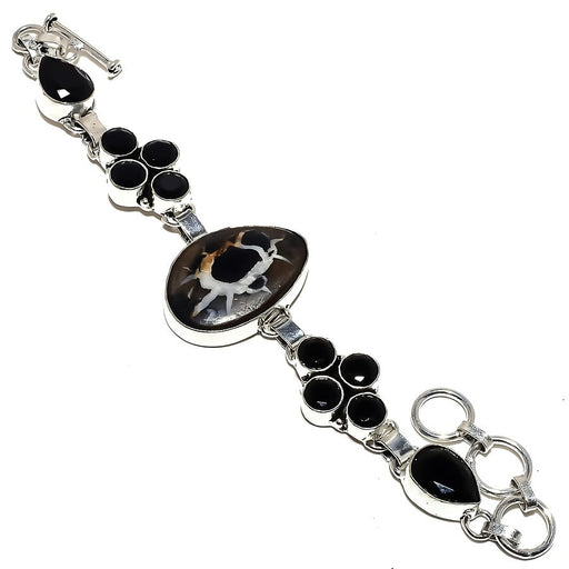 Mud Crack Fossil, Black Onyx Jewelry Bracelet 7-8 Inches RB1281
