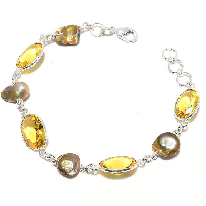 Citrine, Biwa Pearl Gemstone Jewelry Bracelet 7-8 Inches RB128