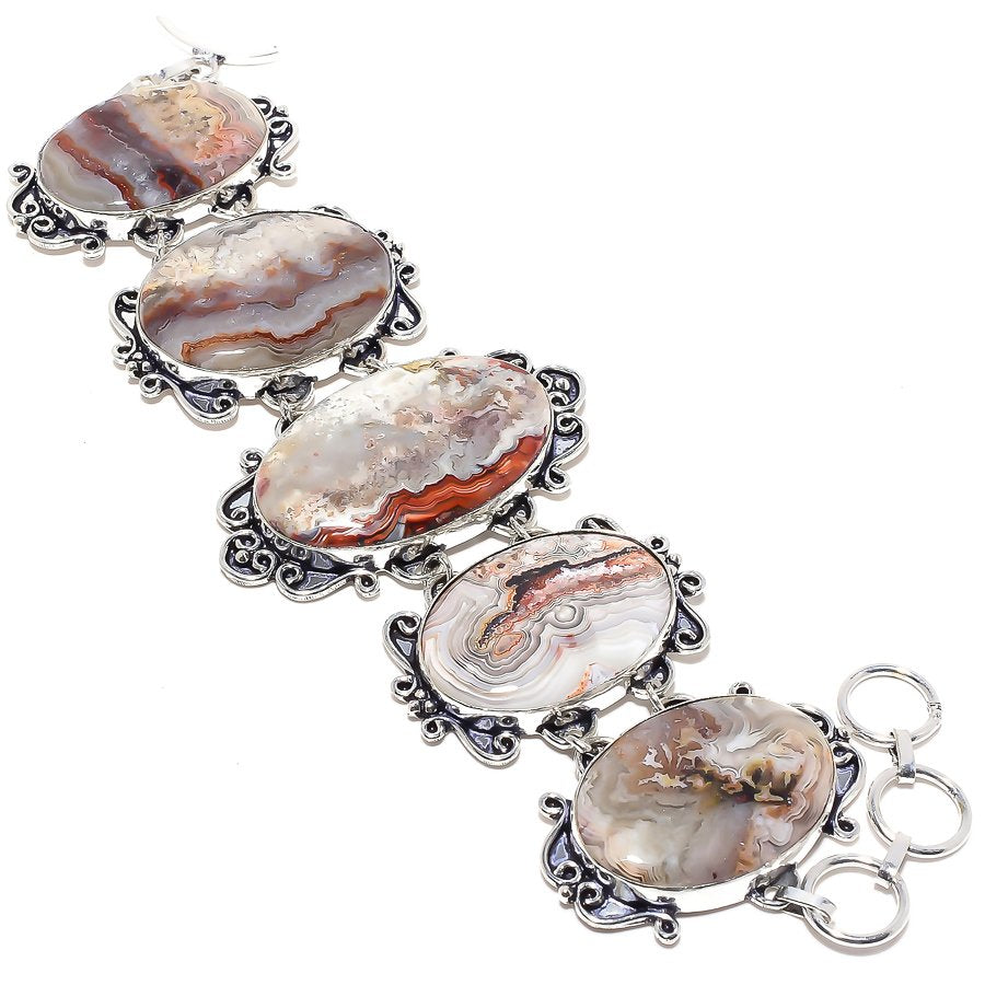 Laguna Lace Agate Gemstone Ethnic Jewelry Bracelet 7-8 Inches RB16