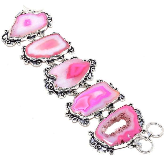 Pink Agate Druzy Gemstone Ethnic Jewelry Bracelet 7-8 Inches RB18