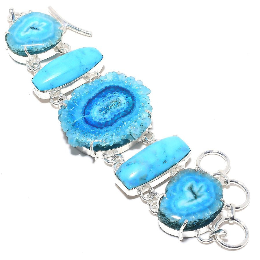 Blue Solar Quartz Druzy Jewelry Bracelet 7-8 Inches RB28