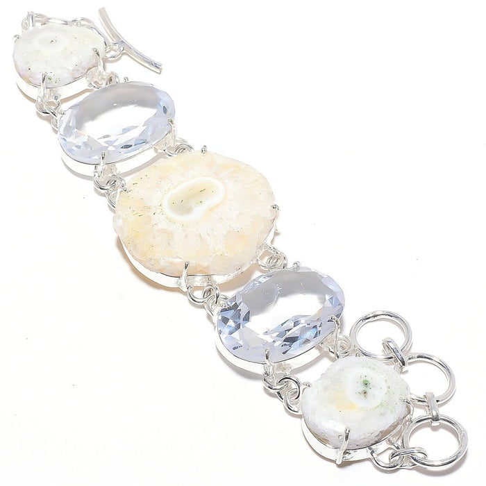 Solar Quartz Druzy, White Topaz Jewelry Bracelet 7-8 Inches RB29