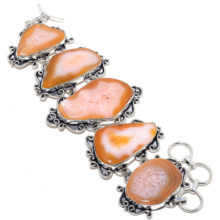 Orange Agate Druzy Gemstone Ethnic Jewelry Bracelet 7-8 Inches RB2