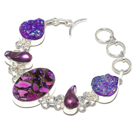 Copper Purple Turquoise Jewelry Bracelet 7-8 Inches RB369