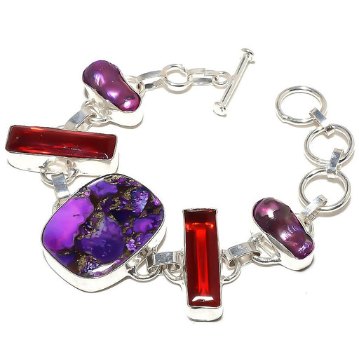 Copper Purple Turquoise, Garnet Jewelry Bracelet 7-8 Inches RB376