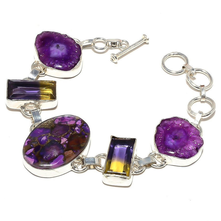 Copper Purple Turquoise Jewelry Bracelet 7-8 Inches RB398
