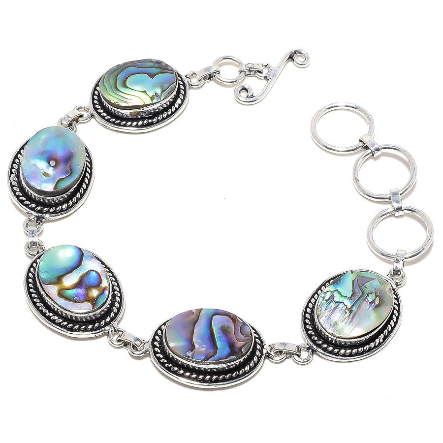 Abalone Shell Gemstone Handmade Jewelry Bracelet 7-8 Inches RB43