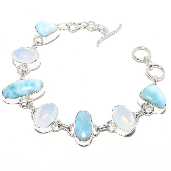 Caribbean Larimar, Milky Opal Jewelry Bracelet 7-8 Inches RB45