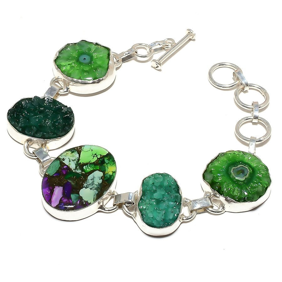 Copper Green Turquoise Jewelry Bracelet 7-8 Inches RB497