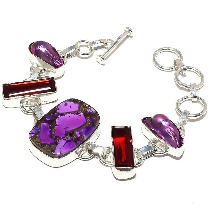 Copper Purple Turquoise, Garnet Jewelry Bracelet 7-8 Inches RB505