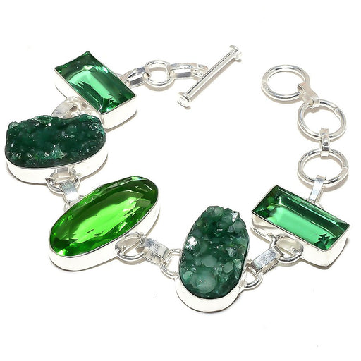 Peridot, Green Quartz Druzy Jewelry Bracelet 7-8 Inches RB512