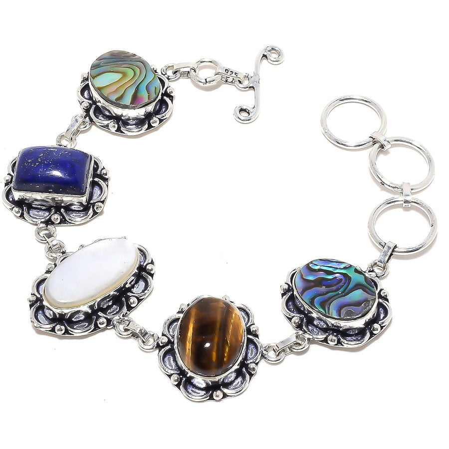 Mother Of Pearl, Multi Gemstone Jewelry Bracelet 7-8 Inches RB51