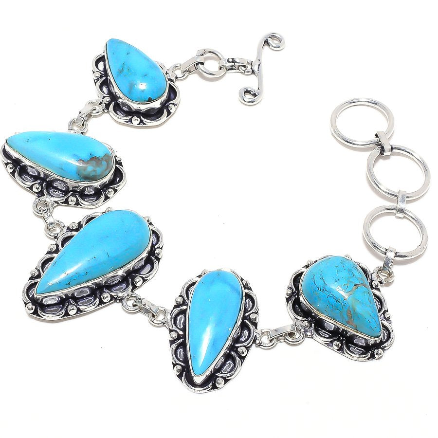 Sleeping Beauty Turquoise Ethnic Jewelry Bracelet 7-8 Inches RB53