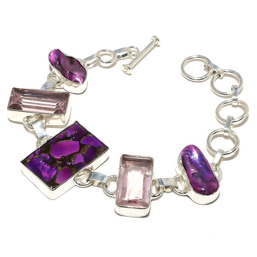 Copper Purple Turquoise Jewelry Bracelet 7-8 Inches RB548