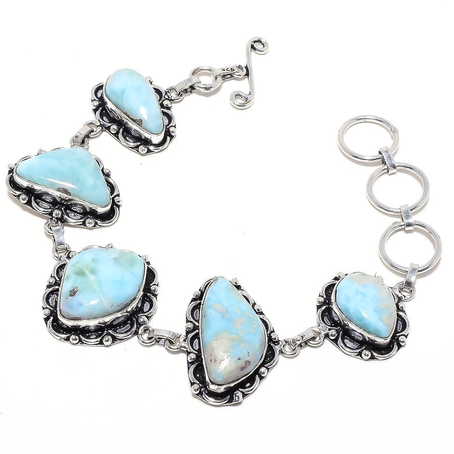 Caribbean Larimar Gemstone Ethnic Jewelry Bracelet 7-8 Inches RB54