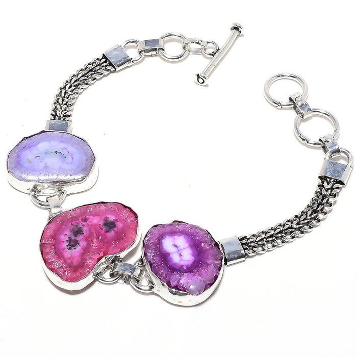 Pink Solar Quartz Druzy Gemstone Jewelry Bracelet 7-8 Inches RB55