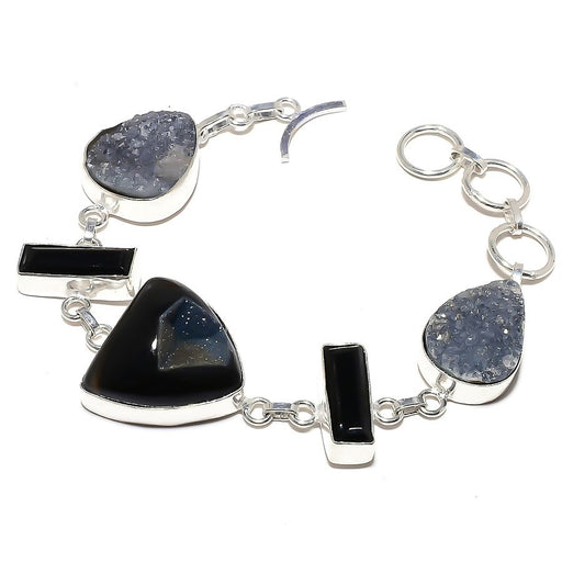 Black Onyx Druzy Gemstone Ethnic Jewelry Bracelet 7-8 Inches RB585