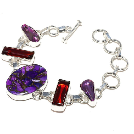 Copper Purple Turquoise, Garnet Jewelry Bracelet 7-8 Inches RB593