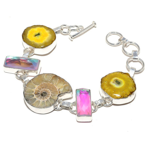 Ammonite Fossil, Solar Druzy Jewelry Bracelet 7-8 Inches RB615