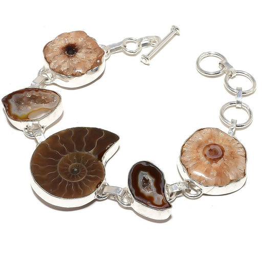 Ammonite Fossil, Solar Druzy Jewelry Bracelet 7-8 Inches RB618