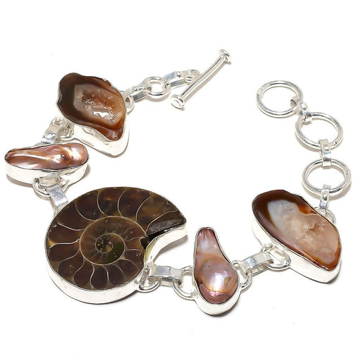 Ammonite Fossil, Agate Druzy Jewelry Bracelet 7-8 Inches RB620