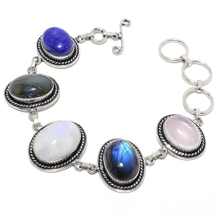 Rainbow Moonstone, Labradorite Jewelry Bracelet 7-8 Inches RB63