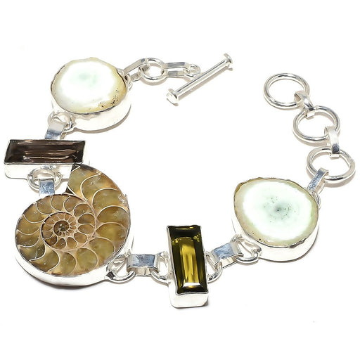 Ammonite Fossil, Solar Druzy Jewelry Bracelet 7-8 Inches RB640