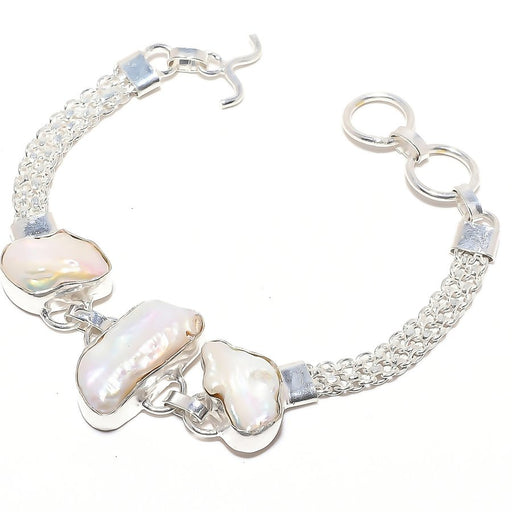 Biwa Pearl Gemstone Handmade Jewelry Bracelet 7-8 Inches RB65