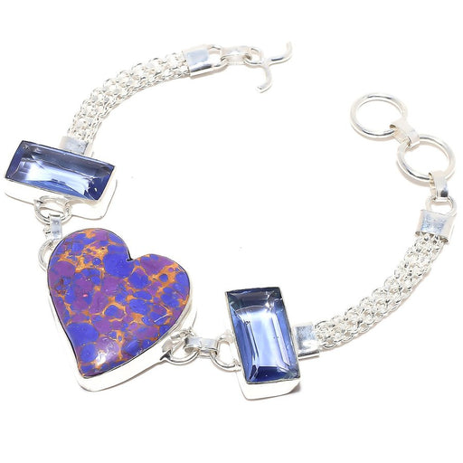 Heart - Copper Purple Turquoise Jewelry Bracelet 7-8 Inches RB66