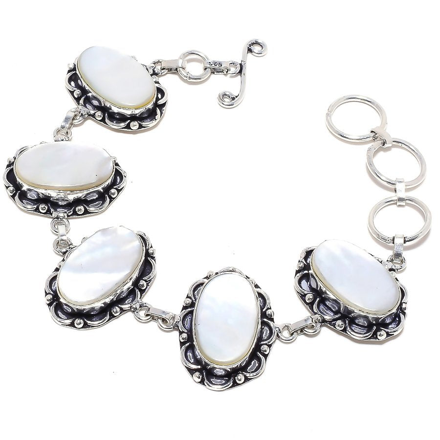 Mother Of Pearl Gemstone Handmade Jewelry Bracelet 7-8 Inches RB68
