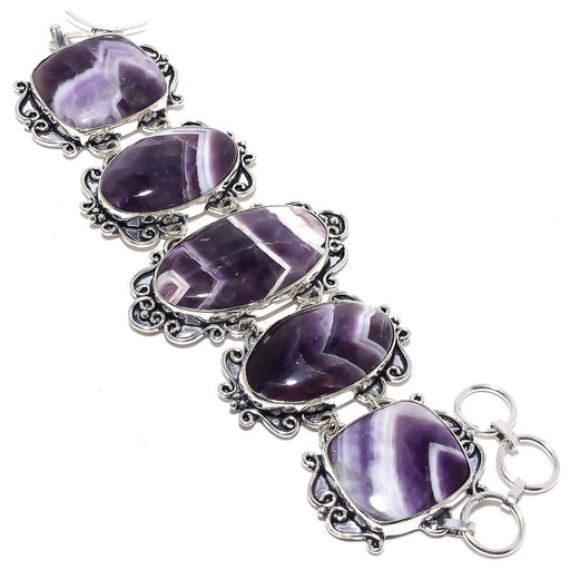 Chevron Amethyst Gemstone Handmade Jewelry Bracelet 7-8 Inches RB6