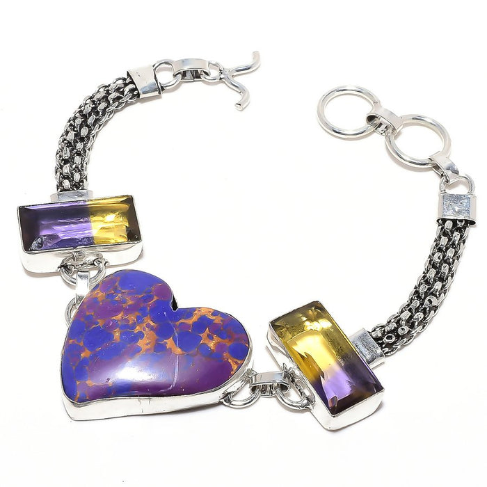 Heart - Copper Purple Turquoise Jewelry Bracelet 7-8 Inches RB71