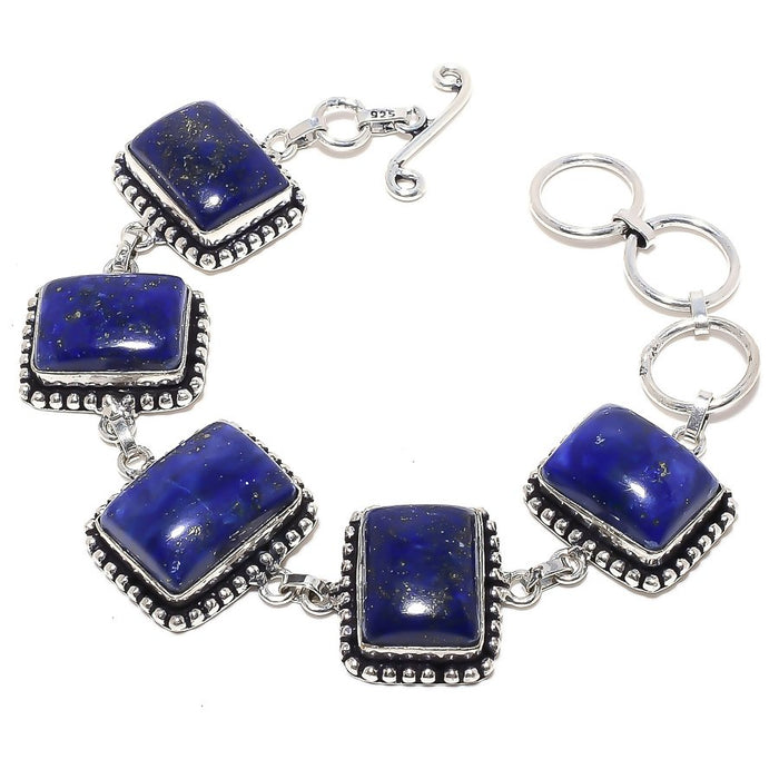 Lapis Lazuli Gemstone Handmade Jewelry Bracelet 7-8 Inches RB74