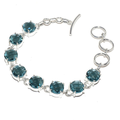 Faceted Apatite Gemstone Ethnic Jewelry Bracelet 7-8 Inches RB756