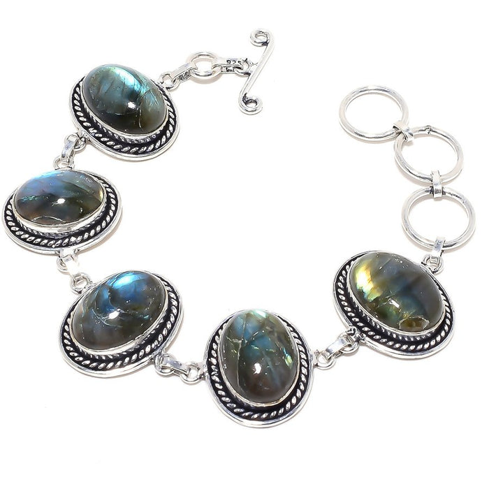 Labradorite Gemstone Handmade Jewelry Bracelet 7-8 Inches RB77