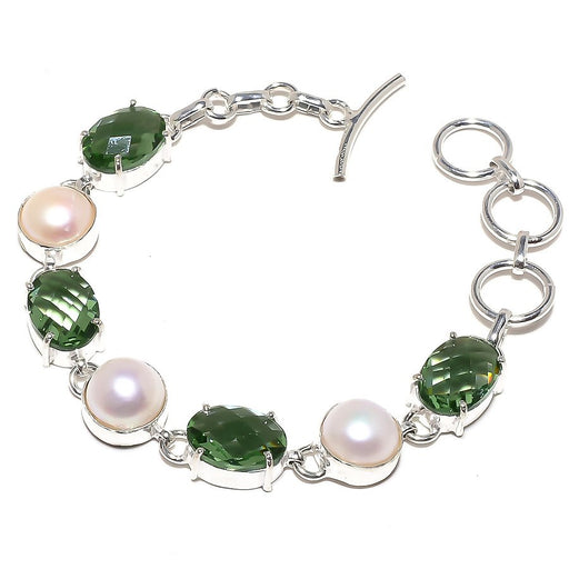 Green Apatite, Pearl Gemstone Jewelry Bracelet 7-8 Inches RB792