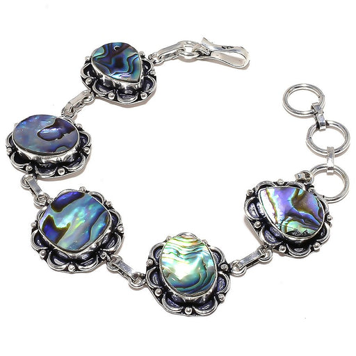 Abalone Shell Gemstone Handmade Jewelry Bracelet 7-8 Inches RB793