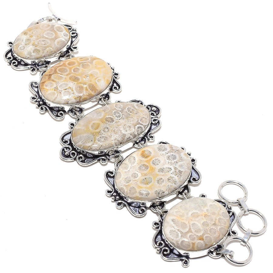Fossil Coral Gemstone Handmade Jewelry Bracelet 7-8 Inches RB7