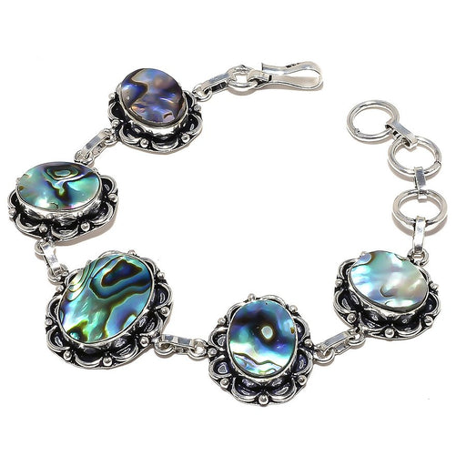 Abalone Shell Gemstone Handmade Jewelry Bracelet 7-8 Inches RB829