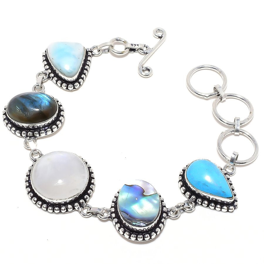 Rainbow Moonstone, Multi Gemstone Jewelry Bracelet 7-8 Inches RB83