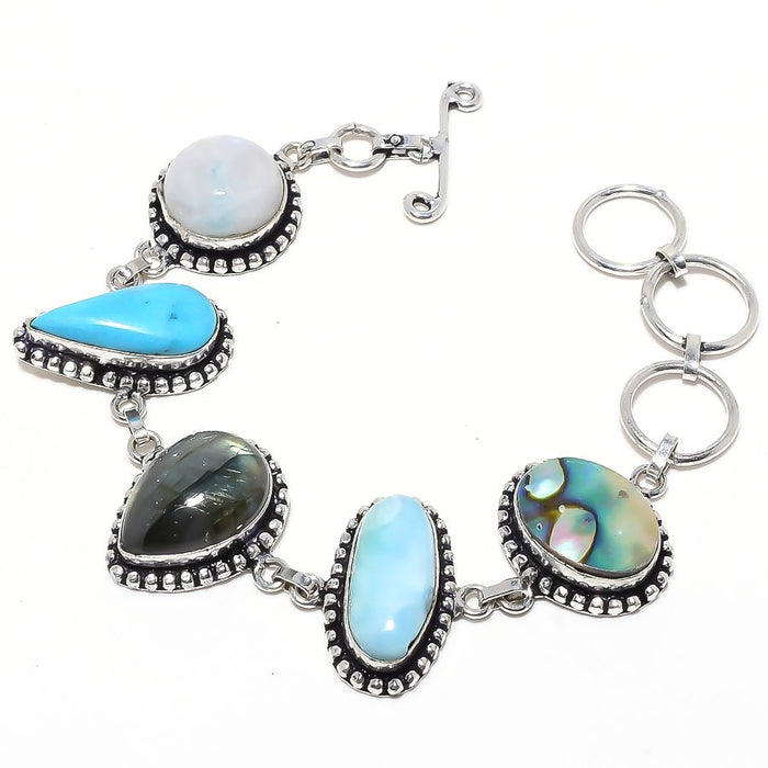 Labradorite, Multi Gemstone Jewelry Bracelet 7-8 Inches RB84